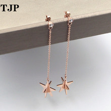 2019 Summer New Fashion Single Drill Hanging Spiked Thorn Long Section Earrings Rose Gold Fringe Women Jewelry