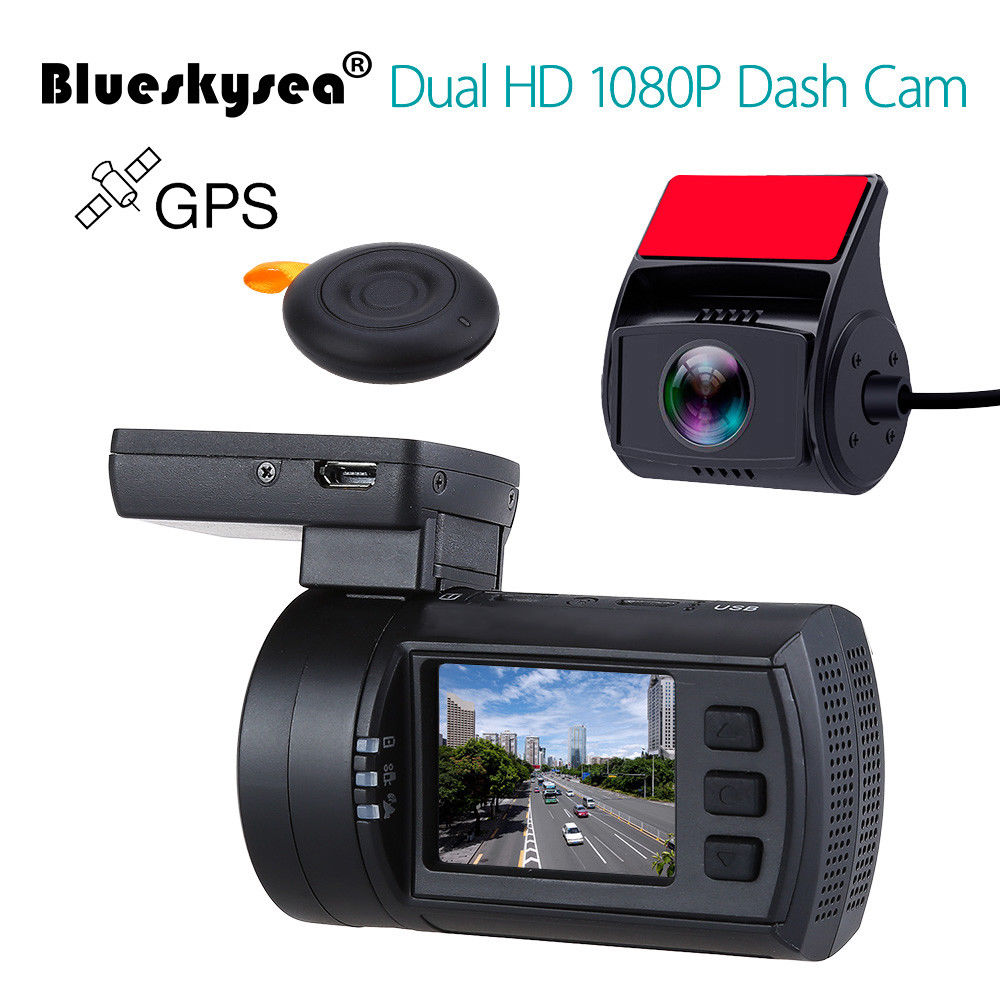 Blueskysea Mini 0906 Dash Camera 1080P Dual Car Dash Cam GPS DVR Vehicle Voiture Dashboard Recorder