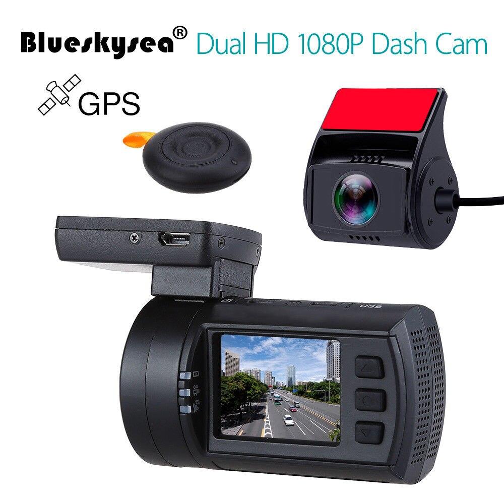 Blueskysea Mini 0906 Dash caméra 1080P double Voiture Dash Cam GPS DVR véhicule Voiture tableau de bord enregistreur amélioré Mini 0806 Dashcam