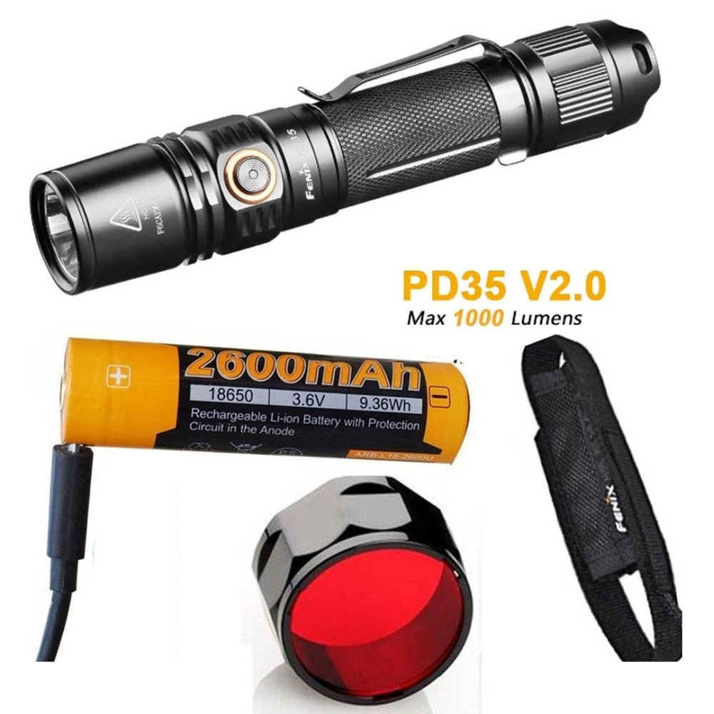 FENIX PD35 V2.0 Tactical Flashlight Cree XP-L HI V3 LED max 1000 lumen 6 working mode torch with 2600mAh battery AOF-S+ filter fenix pd35 v2 0 tactical flashlight cree xp l hi v3 led max 1000 lumen 6 working mode torch with 18650 3500 rechargeable battery