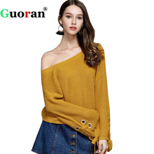 {Guoran} 2017 Autumn New Women Sweater Shirts Fashion Knitted Sweater S M L Flared Sleeve Female Knitwear Knitting Tops Clothing