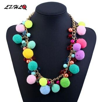 74cb47c96d6f Lzhlq Boho colorido peluche bola gargantilla declaración collar mujeres collar  étnico Collares Colgantes moda collares Collier
