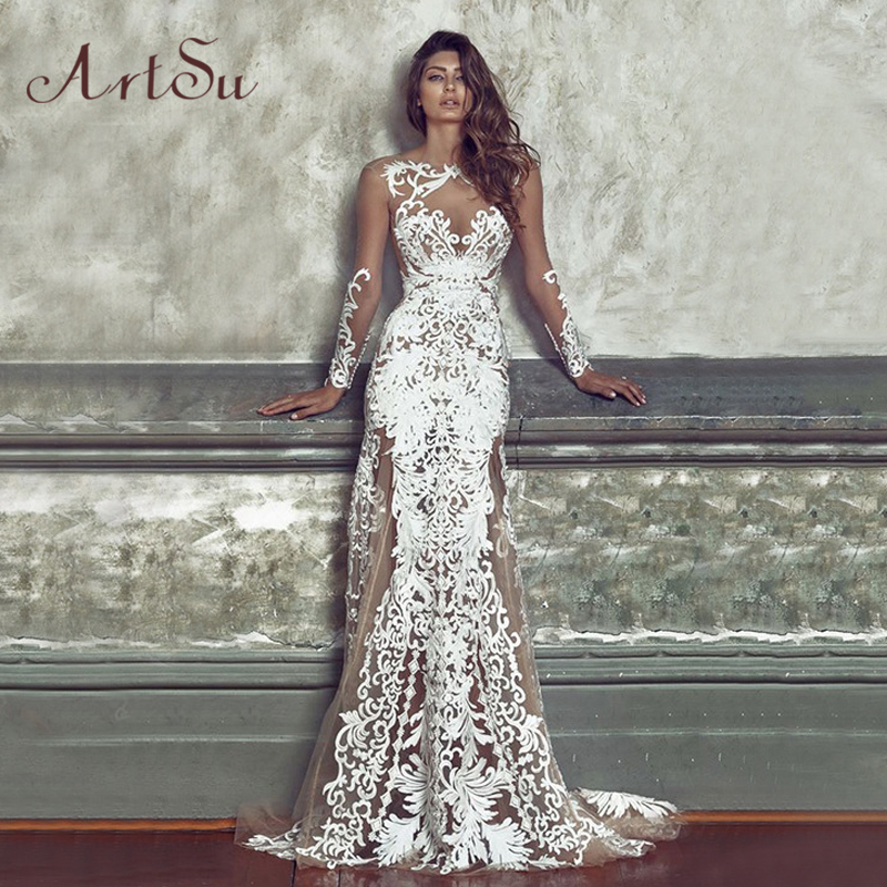 ArtSu Autumn White Lace Party Maxi Dress Women Sexy See through Backless Dresses Long Sleeve Robe Club Vestidos ASDR30127