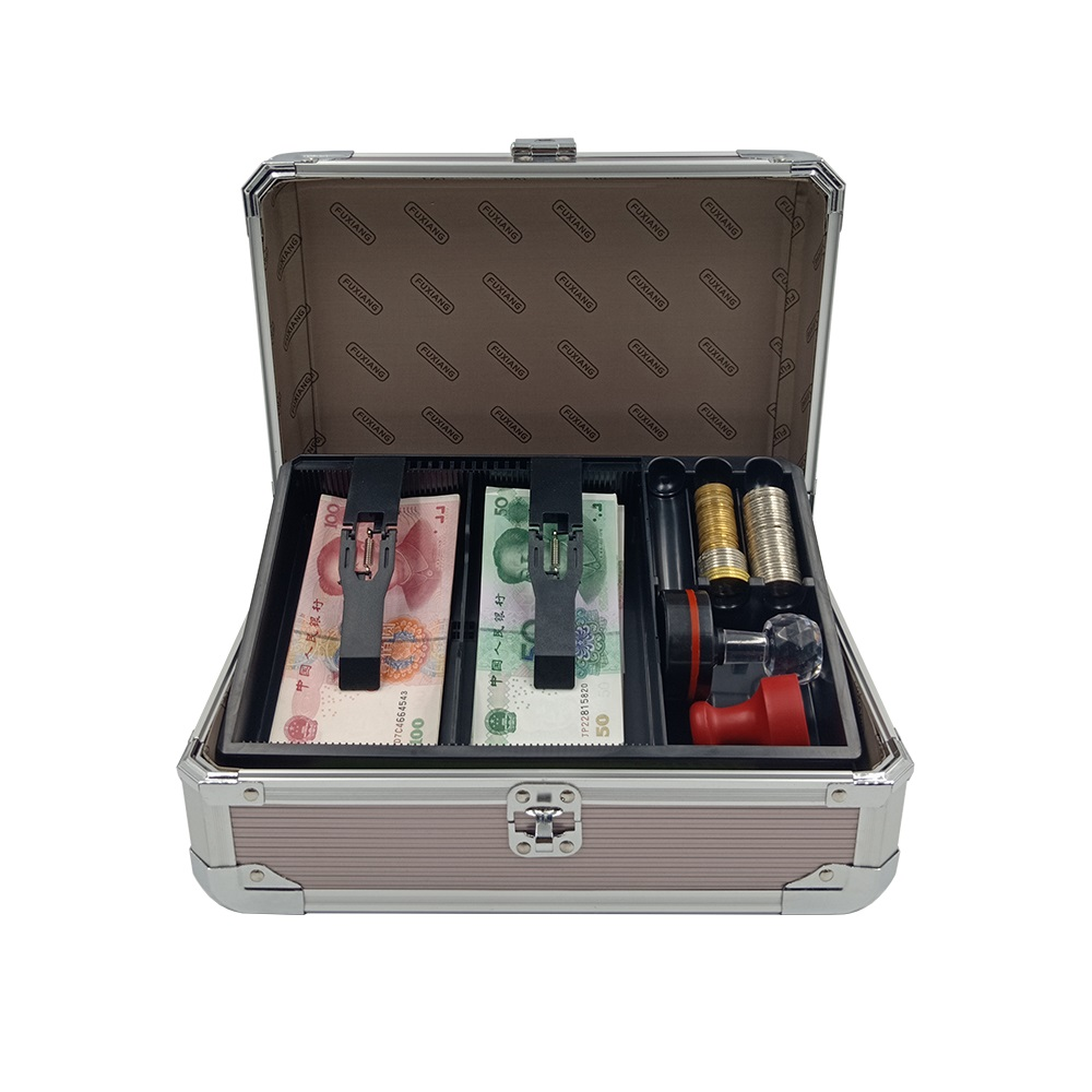 caixa de dinheiro do caso do contador do dinheiro caixa de dinheiro com bandeja do dinheiro