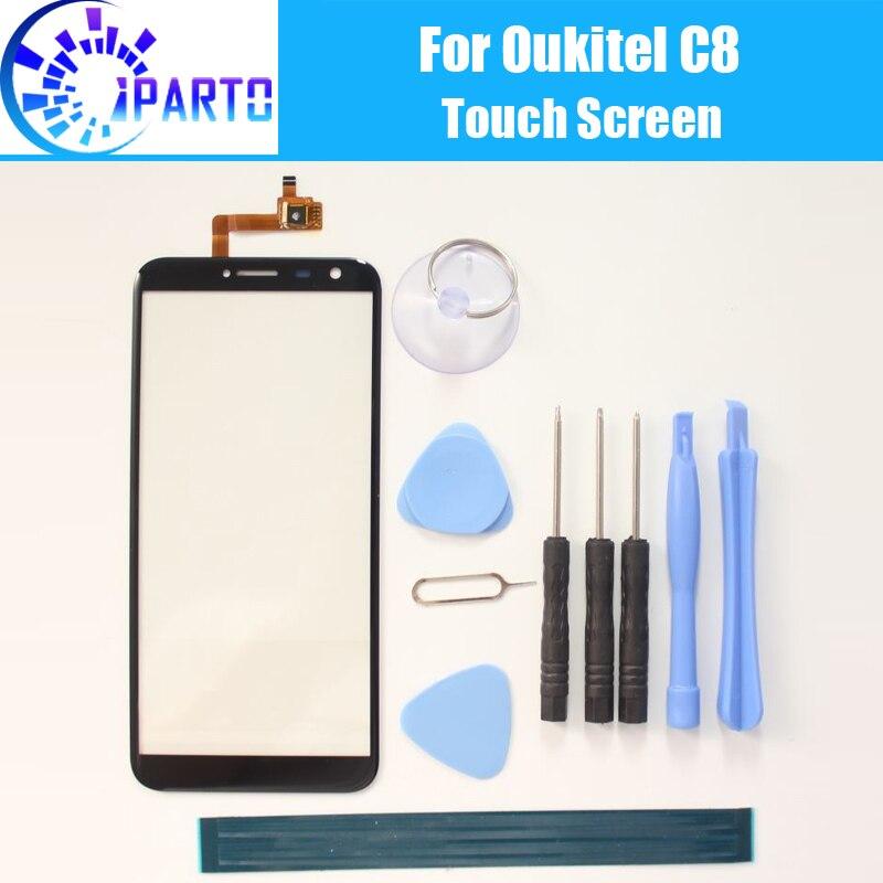Oukitel C8 pantalla táctil Pantalla de Cristal 100% garantía Original digitalizador de Panel táctil de cristal reemplazo para Oukitel C8