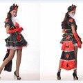 2016new высокое качество Королева Червей одежда Карнавал Партия Sexy poker Королева Косплей Платье Алиса В Стране Чудес Хеллоуин Костюм