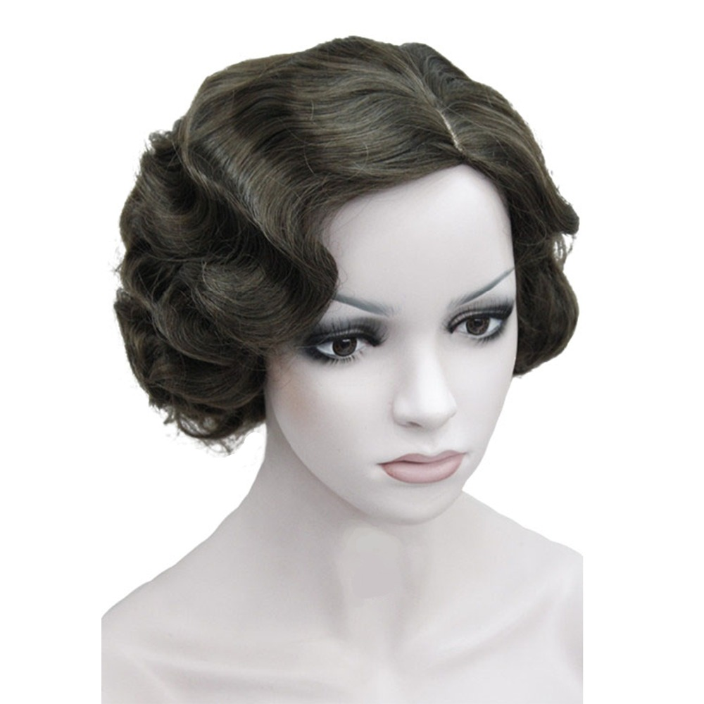 StrongBeauty Flapper Hairstyles for Women Finger Wave Wigs Retro Style Short Synthetic Wig 10 Color headpiece