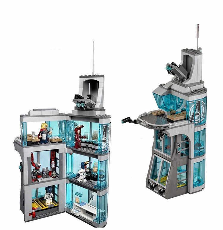511 шт. Star wars Marvel Super Hero Железный человек атаки на Мститель башня модель строительные блоки Copmatible legoingly starwars