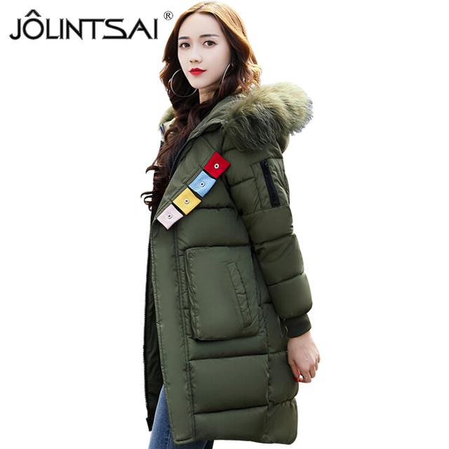 a35f93841daf 2017 Winter Fashion Jacket Women Faux Fur Collar Hooded Thickening Parka  Women's Jackets Medium Long Cotton-padded Female Coat