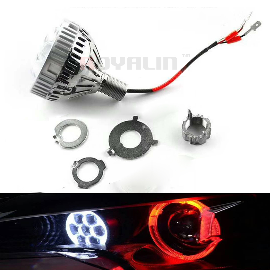 Image 4 - ROYALIN Car LED High Beam Projector Headlights Lens with Devil Eyes Motorcycle Lights for H1 H4 H7 9005 lamps Retrofit DIY-in Car Light Accessories from Automobiles & Motorcycles