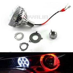 Image 4 - Royalin carro led farol alto lente do projetor com diabo olhos luzes da motocicleta para h1 h4 h7 9005 lâmpadas retrofit diy
