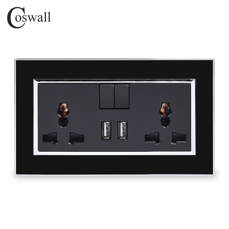 COSWALL 13A Universal Switched Socket 2 USB Charge Port For Mobile Output 2.1A Wall Outlet Black Acrylic Panel