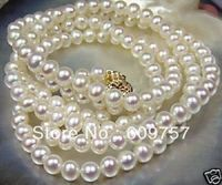 Use Natural Pearl NECKLACES 8 9m White Akoya Cultured Freshwater Pearl Necklace Long 25