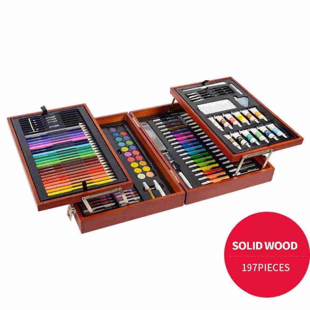 197 قطعة للرسم والرسم مع علبة خشبية أقلام تلوين مجموعة ألوان الرسم الفنية للأطفال أدوات الرسم للأطفال Pen For Sketch For Artset For Drawing Aliexpress