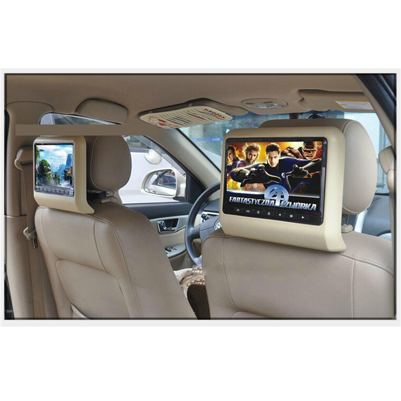 9 Inch a pair HD Car LCD Screen DVD Player Car Automobile Headrest with USB IR Resolution 800*480 Wireless Games Car Pillow