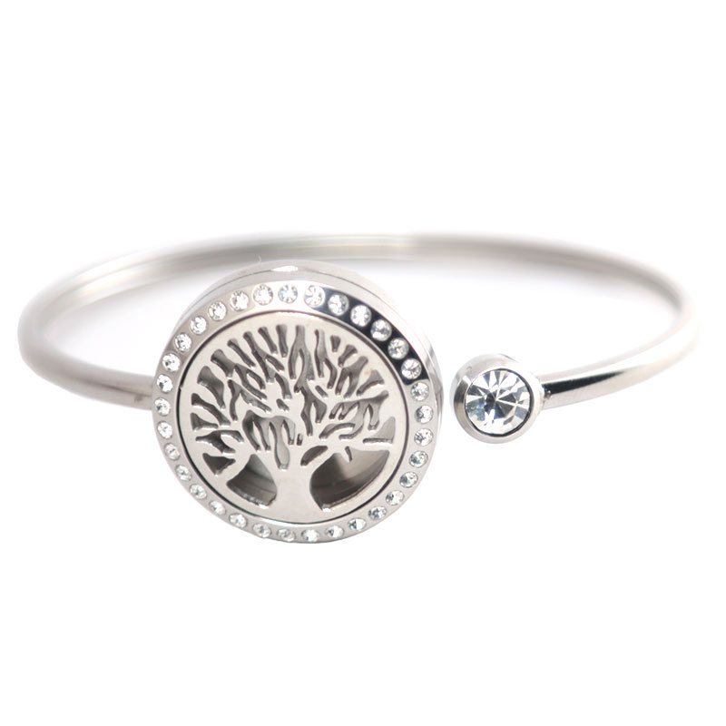25mm Magnet 10pcs Stainless steel Aromatherapy locket Bracelet Bangle essential oil diffuser locket Tree of Life