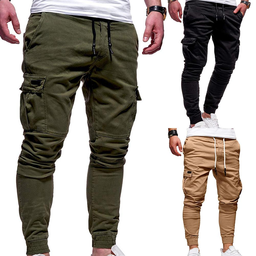 Casual Men Pants Solid Color Multi Pocket Drawstring Ankle Tie Cargo Pants Trousers Men Streetwear(China)