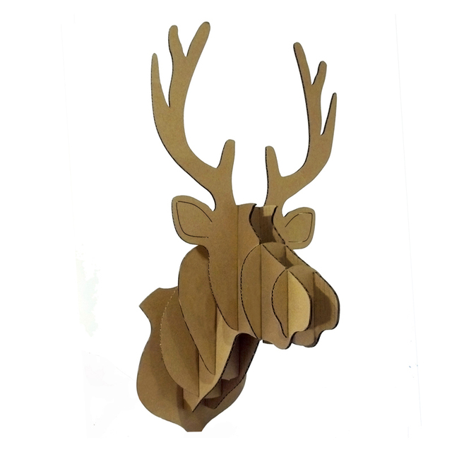 3d Puzzle ReinDeer Head Wall Mount Cardboard Animal Head Wall Decoration  Hanging Ornament DIY Cute Deer