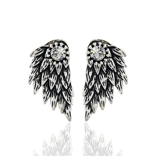 Vintage Gothic Angel Wing Alloy Stud Earrings Cool Black Antique Silver Color Feather Earrings for Women Men Fashion Jewelry 2