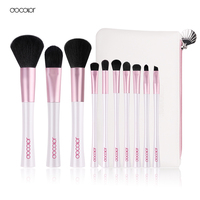 Docolor 10pcs Mermaid Brushes With Bag Professional White And Pink Makeup Brush Set Top Synthetic Hair