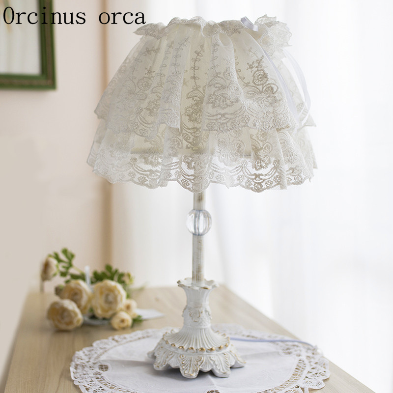 US $118.0 |Korean White Lace desk lamp Princess children\'s room Girls  bedroom bedside lamp Nordic warm cloth desk lamp free shipping-in Table  Lamps ...