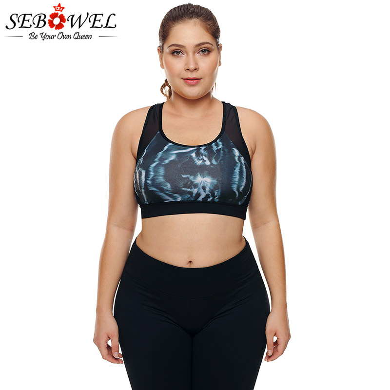SEBOWEL Plus Size Mesh Insert Printed Sports Bra Women Yoga Fitness Shake Proof Stretch Bra Tops Seamless Padded Vest XL 2XL 3XL leading lady women s plus size underwire padded t shirt bra white 38d