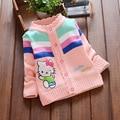 2016 versão Coreana do novo crianças meninas camisola crianças cardigan camisola das crianças dos desenhos animados gato selvagem camisola de malha