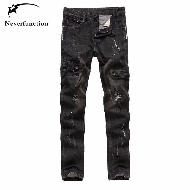 Moda hombres jeans negro slim fit Hombre Denim hiphop Swag pantalones  stretch ripped jeans para hombres 28229394544