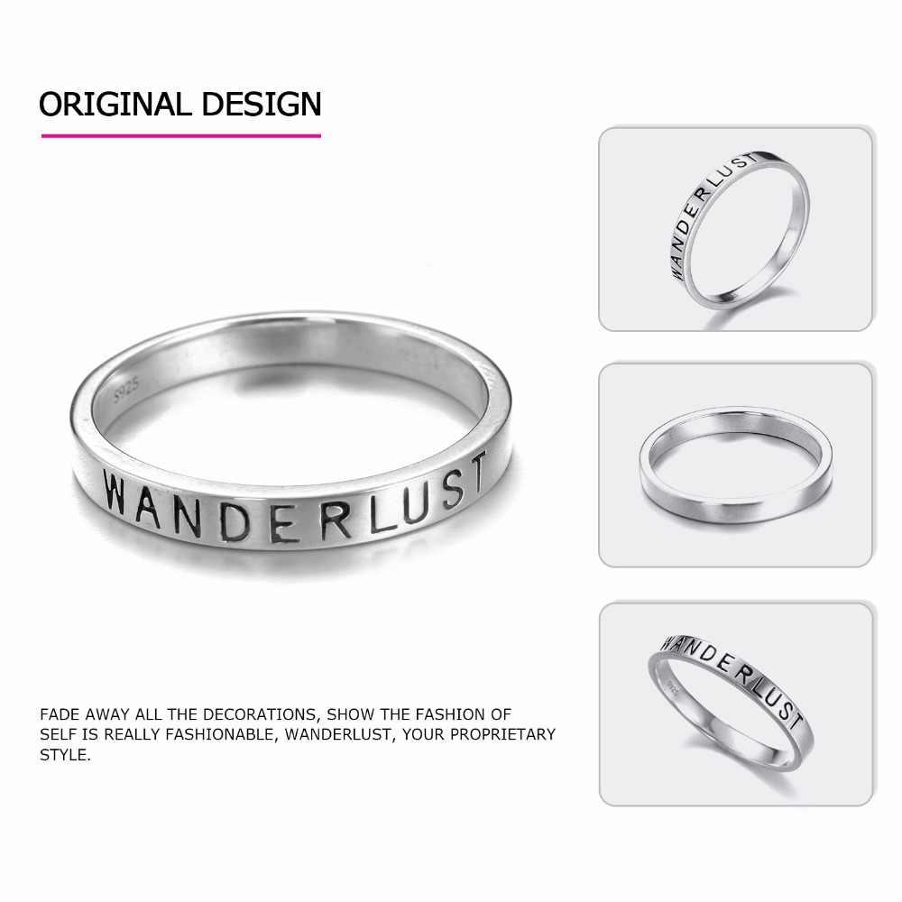 EManco Phụ Nữ 925 Silver Ring Tối Giản Hình Dạng Thư Nhẫn Quà Tặng cho Phụ Nữ New Arrivals JewelryAnneaux đổ les femmes