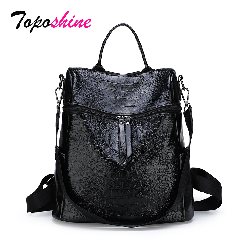 Toposhine Ladies Backpack Crocodile-Pattern Large-Capacity New-Fashion Casual High-Quality