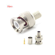 Gakaki – coupleur de caméra de vidéosurveillance 3 en 1, connecteur à sertir Bnc mâle Bnc au connecteur coaxial Rg59, 10 pièces/lot
