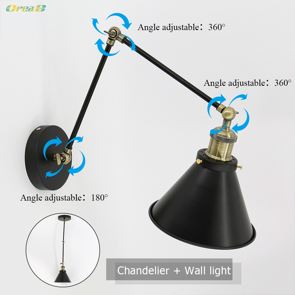 Adjustable Swing Arm Retro Indoor Mounted Wall Light Lamp e27 e26 Led Fancy Wall Hanging Ceiling Lights For Living Room Bedroom
