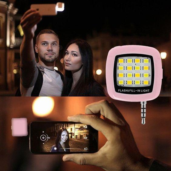 Светодиодной вспышке Selfie <font><b>Flash</b></font> свет для смартфонов ультра мини светодиодной вспышкой с 16 шт. integrated Заполните свет для мобильного телефона iPhone &#8230;