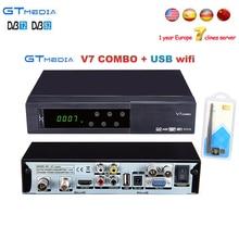 1 Ano Europa clines servidor Gtmedia V7 Combo DVB-S2 DVB-T2 receptor 1080 p HD Receptor de Satélite + USB WIFI Suporte YouTube PowerVu