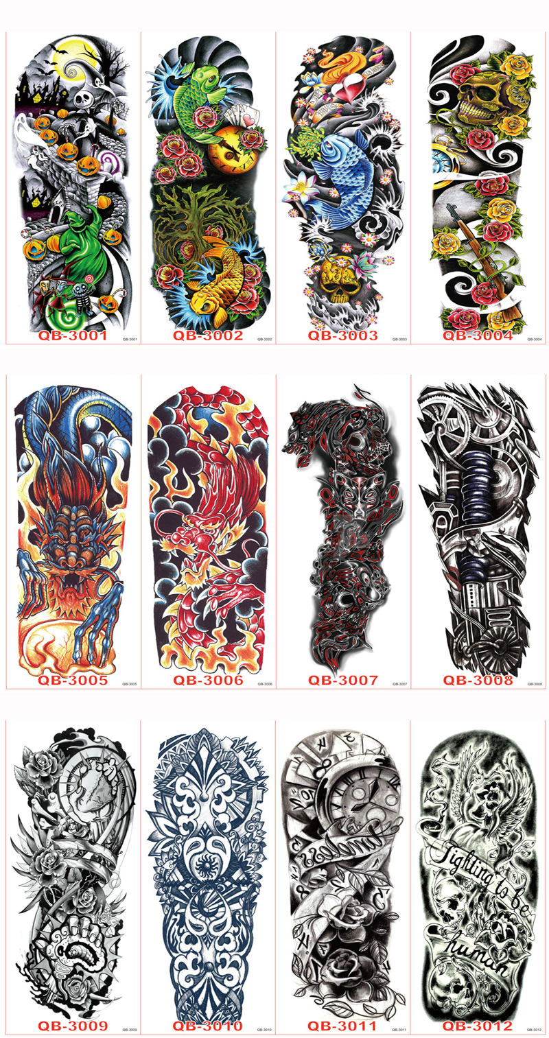 Pcs Waterproof Large Temporary Tattoos Stickers Fake Paste Leg Full Arm Tattoo Sticker Sleeve On The Body Art For Men Women 17