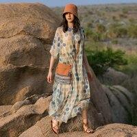 IRINAW067 new arrival summer 2018 original design casual loose x long polka dot natural silk dress women