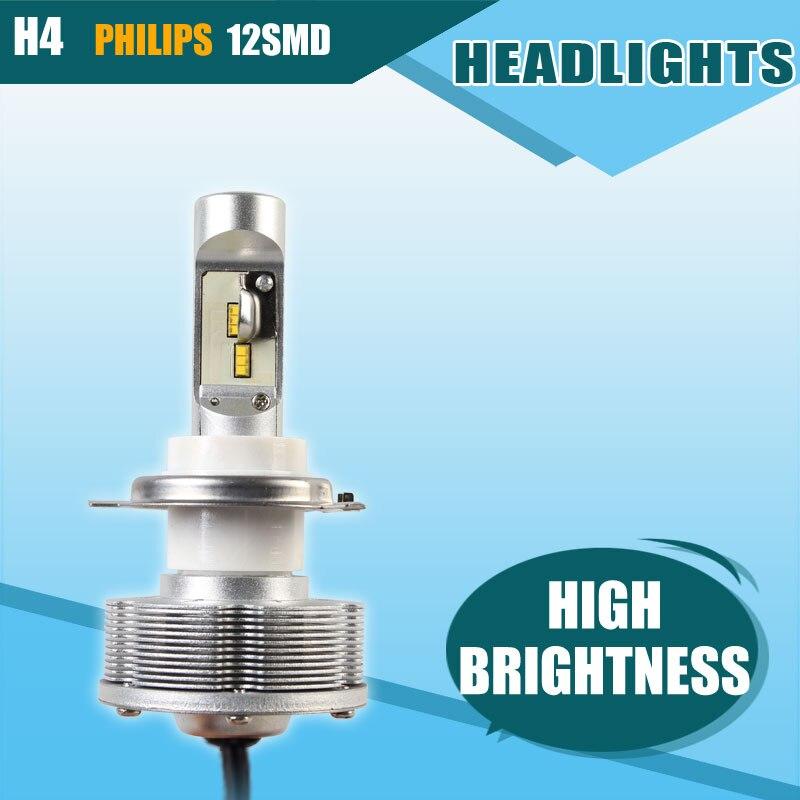 ФОТО Hot Sale H4 Automobiles LED Headlights Cars Bulb White LED H4 Headlamp High Power 36W Brightest 6000K Car Styling