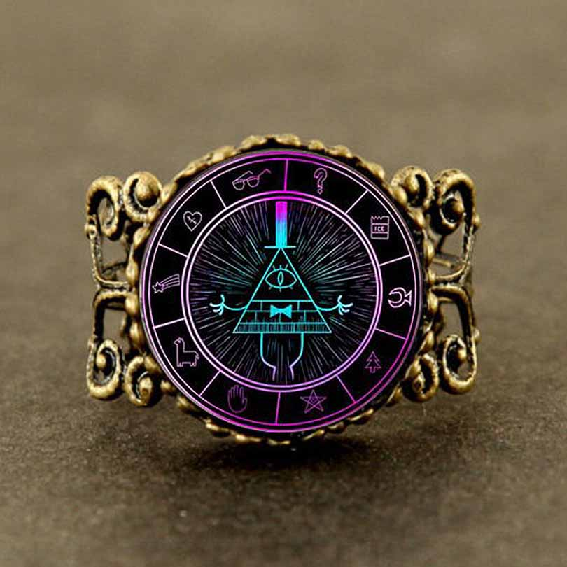 Drama de dibujos animados Misterios BILL CIPHER WHEEL BOSS hat Steampunk usa 1pcs / lot chain mens womens ring fans gift cute wedding