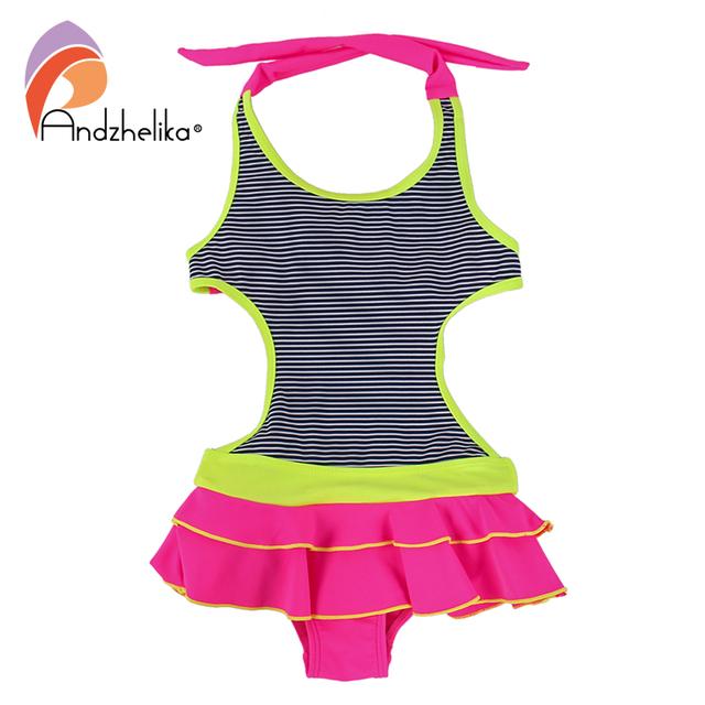 Andzhelika Children's Dress Swimwear 2017 New One Piece Solid Patchwork Bodysuit Children Beachwear  Swim Suit Bathing Suit