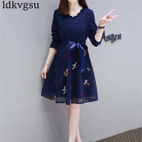 2019 5xl plus Large Size Spring Autumn Women Dress Winter Korean Embroidery V neck Stitch Party Cute Sweet Dress Female V261
