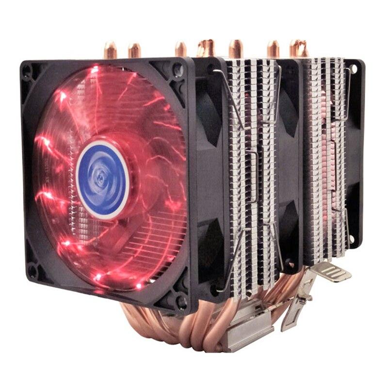 4 6 caloduc refroidisseur de processeur Intel 775/1150/1151/1155/1156/1366 2011 AMD 4pin à double tour de refroidissement 9 cm ventilateur lumière LED