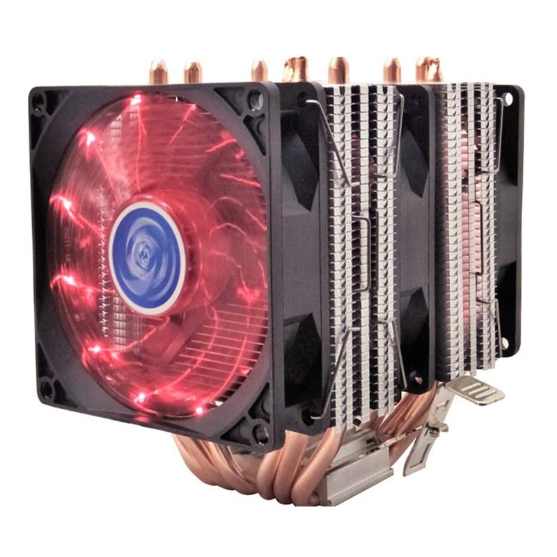 4 6 heatpipe enfriador de CPU Intel 775/1150/1151/1155/1156/1366/2011 AMD 4pin luz LED ventilador de refrigeración de doble torre 9 cm