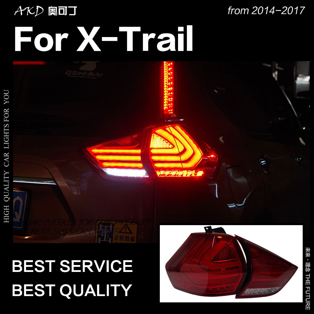 AKD Car Styling for Nissan X-trail Tail Lights 2014-2017 Rouge LED Tail Lamp DRL Signal Brake Reverse auto Accessories