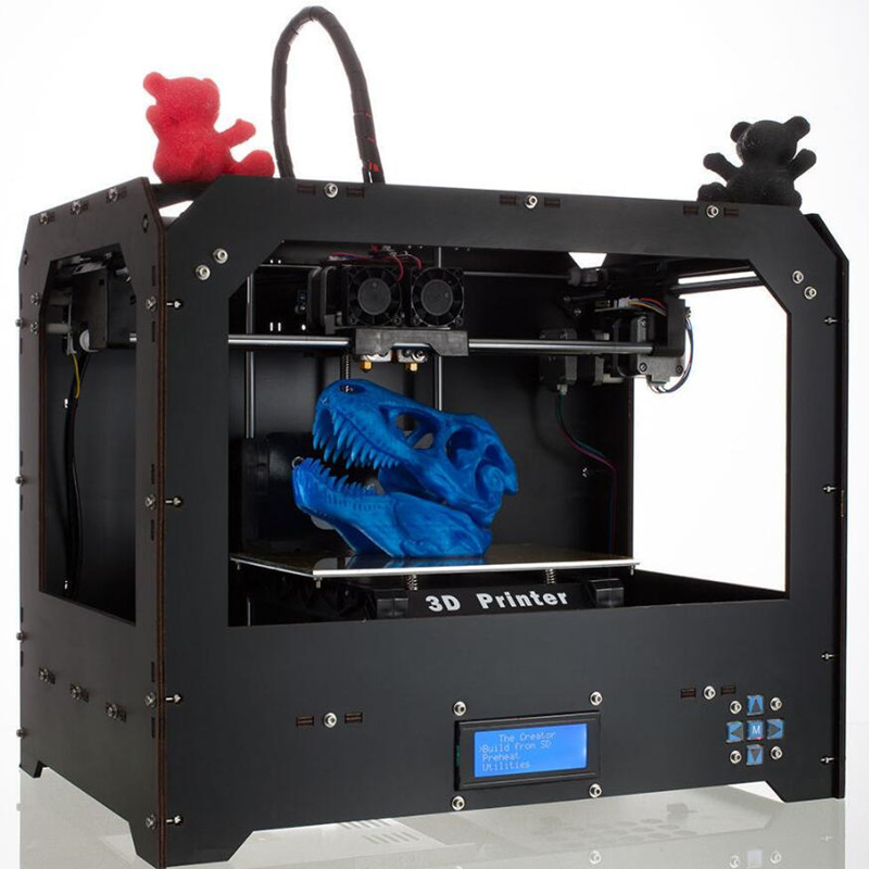 CTC Black High Precision Dual Extruder FDM 3D Printer 1 Roll Free PLA Filament