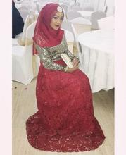 2016 Muslim Evening Dresses A-line High Collar Red Lace Sequins Scarf Islamic Dubai Abaya Kaftan Long Evening Gown Prom Dress