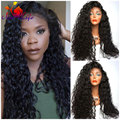 Japanese Heat Resistant Fiber Long Black Curly Synthetic Lace Front Wigs Black & Brown Afro Kinky Curly Synthetic Lace Front Wig
