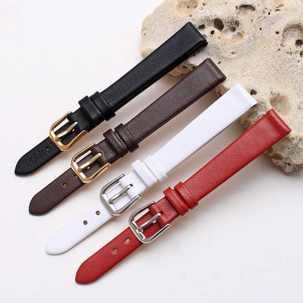 6mm 8mm 10mm 12mm Black small size wristband quality genuine leather watchband Ultra thin for womens watch band