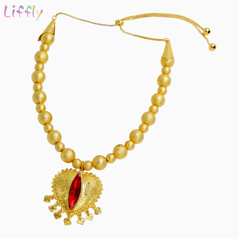 Luxury Dubai Jewelry Sets Red Crystal Necklace Gold Ring Earring Bracelet for Women Bridal Jewelry set Accessories Gifts in Jewelry Sets from Jewelry Accessories