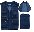 2015 Casual 100% Cotton Mens Vest Jackets Man Denim Sleeveless Coat , Many Pockets Photographer Outerwear Plus Size 5XL