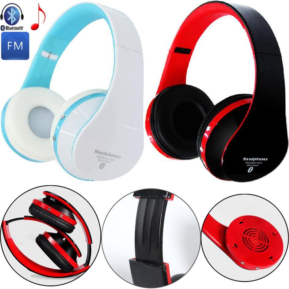 Foldable Bluetooth Earphone Wireless Stereo Headphone Headband Music Headset Support FM TF Card For Samsung HTC iPhone Lenovo LG